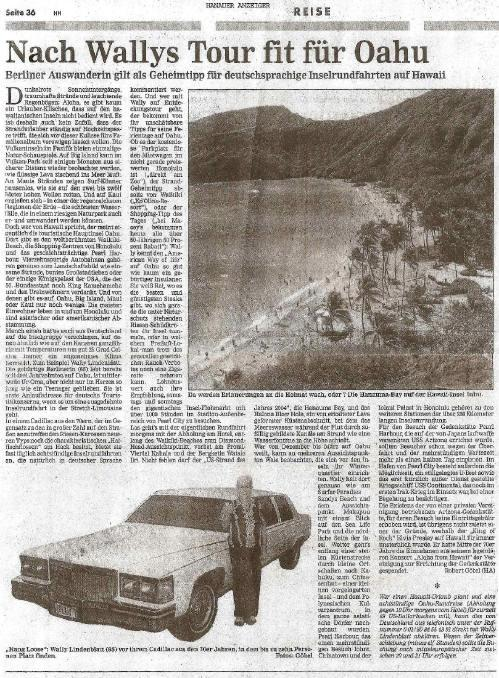 Wally's Tours Hawaii in Hanauer Anzeiger Zeitung Deutschland